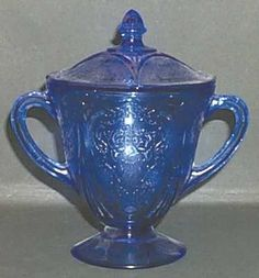 Hazel-atlas ROYAL LACE-COBALT BLUE Sugar Bowl 7925836