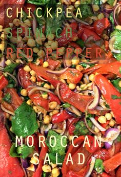A delicious Moroccan salad, filled with spinach, chickpeas and red peppers. Sweet and juicy flavours with a delicious North African dressing. http://www.vegrecipelover.com/chickpea-and-red-pepper-moroccan-salad