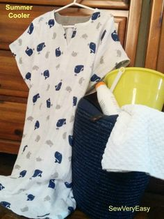 Sew a Summer Cooler - child's size beach and bath cover-up - easy sewing tutorial DIY by @SewVeryEasy - done with Embrace Whales Cobalt http://www.shannonfabrics.com/embrace?view=all and solid Embrace Silver accent