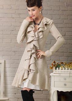 New Design Lutos Leaf Triming Long Woolen Overcoat by Lifemagic
