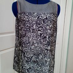 !!ON SALE!! ANN TAYLOR LOFT SLEEVELESS TOP Elegant black, gray, cream Paisley print. Black exposed zipper with gunmetal teeth and black pull. Perfect for career or dress casual.  100% Polyester Machine wash Tumble dry Excellent condition LOFT Tops Blouses