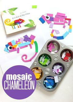 This fine motor mosaic craft for preschool is a great way to extend the experience of reading Leo Lionni& A Color of His Own. Kids Crafts, Crafts For Kids To Make, Book Crafts, Preschool Crafts, Literacy Activities, Preschool Activities, Preschool Art Centers, Color Activities For Toddlers, Rainforest Theme