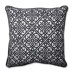 Pillow Perfect Lace It Up Ebony Throw Pillow