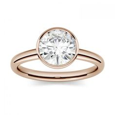 Forever One 0.50CTW Round Near-colorless Moissanite Bezel Set Solitaire Engagement Ring in 14K Rose Gold SIZE 5.0