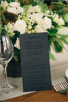 black on black spot varnish wedding menu /weddingchicks/