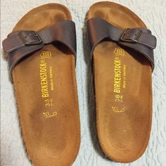 Birkenstock Madrid sandals, gently worn. These blue leather sandals were worn a few times but mostly languished in my closet. Birkenstock Shoes Sandals