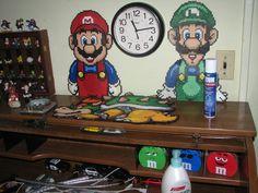 Mario ,Luigi and Bowser perler by ndbigdi on deviantART