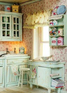 Very sweet. Skip the wallpaper and paint it a very pale pink and I could live in this easily.