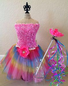 Princess Costume Fairy Costume  Rainbow Tutu by partiesandfun
