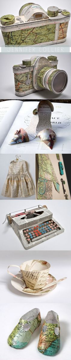 i love the work of artist jennifer collier. jennifer focuses on creating work from recycled paper; by bonding, waxing, trapping and stitching she produces unusual paper 'fabrics', which are used to explore the 'remaking' of household objects.