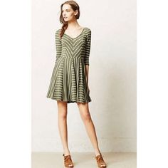 ea65f6448c1b5 Anthropologie Puella Striped Dress, M Olive Dress, Conservative Fashion,  Casual Attire, Green