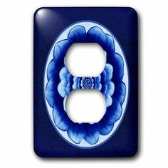 3dRose Cerulean Floral Mandala on French Background 1-Gang Duplex Outlet Wall Plate in Blue, Size 5.0 H x 3.5 W x 0.06 D in | Wayfair