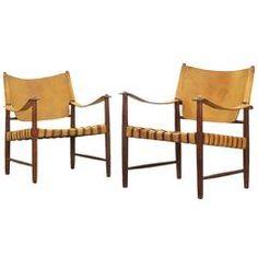 Beautiful Safari Lounge Chairs in the Style of Børge Mogensen, Hans J. Wegner