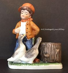Handsome boy with geese candle holder figurine at #Art_Vintage4Lynn #Ebay to buy click image #Vintage #VeronaVergasi #Collectible #Figurine #CollectibleFigurine #Kitsch #VintageKitsch #Geese #MothersDay