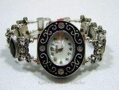 Karen's Artistic Touches Store - Black Clear Crystal Bling Beaded Watch Bracelet, $39.99 (http://www.karensartistictouches.com/black-clear-crystal-bling-beaded-watch-bracelet/)