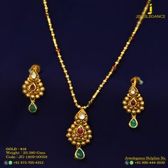 Gold 916 Premium Design Get in touch with us on Designer Jewellery, Gold Jewellery Design, Gold Jewelry, Fine Jewelry, Pendant Set, Gold Pendant, Pendant Jewelry, Gold Fashion, Fashion Jewelry