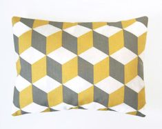 12 x 16 inch decorative pillow cover, mustard yellow, grey white / blue green abstract cube lumbar cushion cover