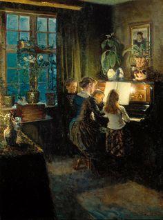 Viggo Johansen - Viggo Johansen, The Artist's Wife And Children