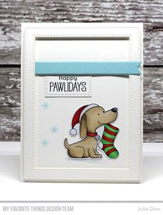 Stamps: Happy Pawlidays Die-namics: Happy Pawlidays, Stitched Rectangle Frames, Essential Fishtail Sentiment Strips, Stitched Jumbo Fishtail Banner Julie Dinn #mftstamps
