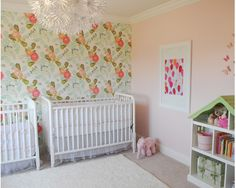 Love: accent wallpapered wall, crib positions, that it actually reminds me  of what our nursery could be