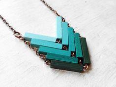 Wood Geometric Necklace JUNGLE Minimal by Valentinolandia
