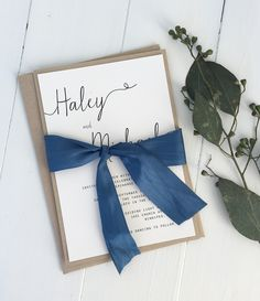 Navy wedding invitation. Blue wedding