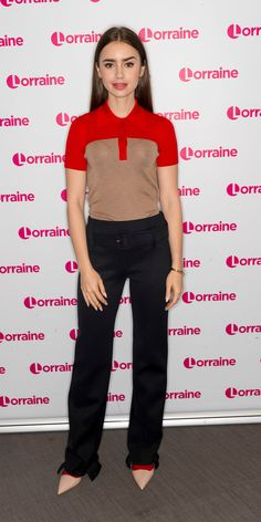 Lily Collins mixed in pops of red into a neutral look for an appearance on the Lorraine TV show in London. Celebrity Summer Style, Celebrity Moms, Celeb Style, Celebrity Photos, Lily Collins Style, Mode Alternative, Online Fashion Magazines, Chic Dress, Celebs