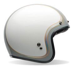 Open face helmet for ladies? A grey & white BELL Custom 500 helmet with decent pinstripes. Mens Motorcycle Helmets, Dirt Bike Helmets, Motocross Helmets, Cruiser Motorcycle, Women Motorcycle, Bell Helmet, Helmet Paint, Open Face Helmets, Vintage Motorcycles