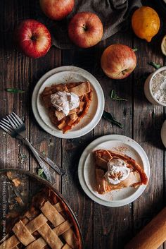 Flatlay Inspiration · via Custom Scene · Homemade Apple Pie with Whipped Cream Food Porn, Homemade Apple Pies, Fall Recipes, Pumpkin Spice, Love Food, Sweet Tooth, Food Photography, Food And Drink, Yummy Food