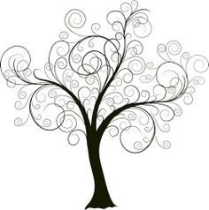 Beautiful swirly tree.  Im planning on painting this on the wall and then adding pictures of our family to create a unique family tree.