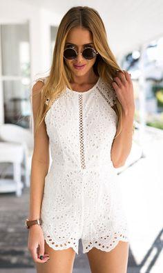 White crochet lace playsuit | Boho babe | Mura Boutique