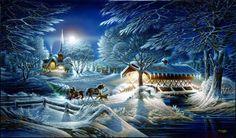 Terry Redlin ~ horse ~ drawn sleigh ~ moonlight ~ covered bridge