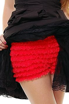 50s Style Red Lace Ruffle Pettipants - S to XL - Unique Vintage - Prom dresses, retro dresses, retro swimsuits.