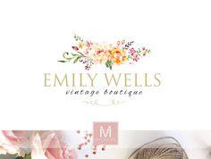 Floral Logo ,Romantic Logo, Watercolor Logo, Events Logo, Photography Logo, Boutique Logo ,Shabby Chic Logo, Watermark