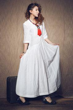 White Dress Wedding maxi linen dress In Stock por camelliatune