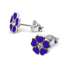 925 Sterling Silver Earrings - Purple 5 Petal Primrose Flowers w/ CZ Centre 5mm - Boxed in Jewellery & Watches, Costume Jewellery, Earrings | eBay
