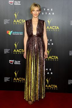 Cate Blanchett's wearing sequin-encrusted gown by Givenchy at ACCTA awards. #Fashion #celebrities