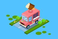 sales van on road: Ice Cream Truck Isometric Design Vector Illustration Ice Cream Van, Isometric Design, Royalty Free Images, Illustrator, Truck, Stock Photos, 3d, Toys, Gallery
