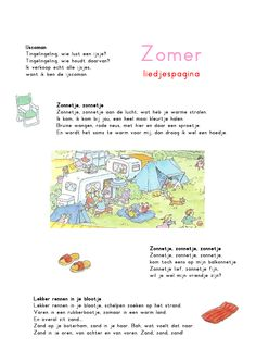 Liedjespagina: Zomer Summer Crafts For Kids, Summer Kids, Dutch Language, Strand, Ppr, Toddler Play, Pre School, Summertime, Teaching
