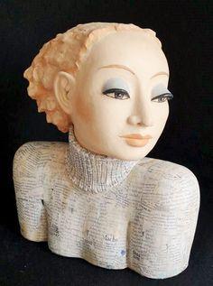 source : keramik kunst & gartenkeramik (margit hohenberger) _  collection art céramique sculpture figure buste féminine (ceramic)