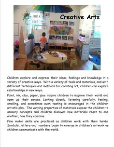 Garden Gate Child Development Center - Creative Arts poster by Garden Gate Child Development Center ≈ ≈ For more inspiring pins: pint - Play Based Learning, Learning Through Play, Learning Centers, Learning Activities, Teaching Resources, Learning Stories Examples, Sudoku, Family Day Care, Early Childhood Education