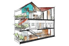 the house features a bold, red spiral staircase in the terrace and glass partition walls, striking against the surrounding buildings. Glass Partition Wall, Glass Curtain Wall, Studio Kitchen, Home Studio, Dream Home Design, House Design, Space Architecture, Drawing Architecture, Ground Floor Plan