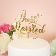 ウェディングケーキトッパー《 Just Married 》/ ミラーゴールド