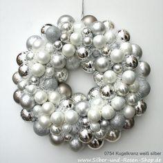 Türkranz Weihnachten Kugeln weiß silber
