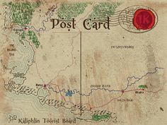 Map showing the western part of Kaliphlin, including the location fo the oasis town of Mophet along the oil road. Tourist Board, Vintage World Maps, Cards, Infographic, Maps, Playing Cards