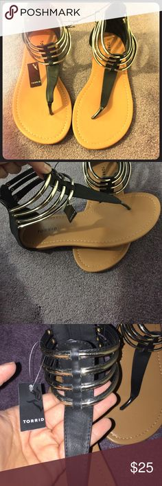 Black and gold sandals Torrid size 10 black and gold with tags torrid Shoes Sandals