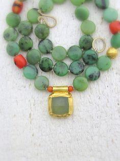 Chrysoprase Necklace  24k Gold Necklace with Chrysoprase by Omiya, $345.00