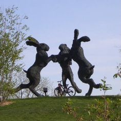 Hares with bike