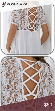 NWT Girly Off White Crisscross Open Back Blouse Wow! I just ordered this top for myself! It is stunning! I love it! I also bought a self adhesive bra so I could wear it natural! It is a gauzy material! Size small but would be perfectly fine on a medium too! Go by my measurements! Bust 21 Length 26 Boutique Tops Blouses