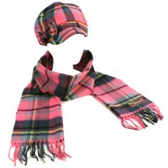 Winter Plaid Ribbon Bow Newsboy Cabbie Cap Hat Softer Than Cashmere Scarf Pink